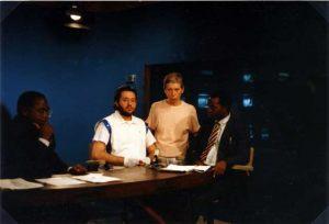 Zaire - Kinshasa 24 de Marzo 1991 Giorgio Bongiovanni en la TV Nacional del Zaire.