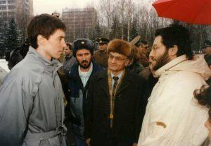 """Rusia - Moscú 10 de Abril 1992 """"Ciudad Espacial Rusa"""" Giorgio entrevista al Cosmonauta Serghei Krikaliov."""