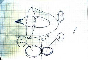 """Dibujo que representa el avistamiento tenido por el Cosmonauta Kovalënok durante la misión espacial en la cápsula """"Soyuz 6"""" el 5 de Mayo de 1981."""