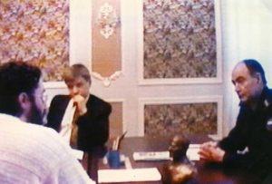 Rusia - Tver 5 de Febrero 1997 desde la izquierda: Giorgio Bongiovanni, V. Zhurkin, Rescetnicov.